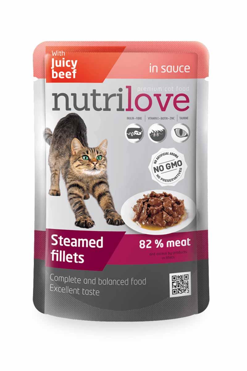 Пресерва Nutrilove NMpouch Cat beef с говядиной (соус) 82%, 85 г