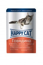 Консервы Happy Cat Adult (Говядина, печень, горох), 100 г.