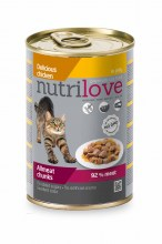 Консервы Nutrilove Chunks Cat chicken с курицей (желе) 92%, 415 г